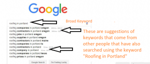 Roofing en Portland Google Suggestions Forza Digital Marketing posicionamiento seo