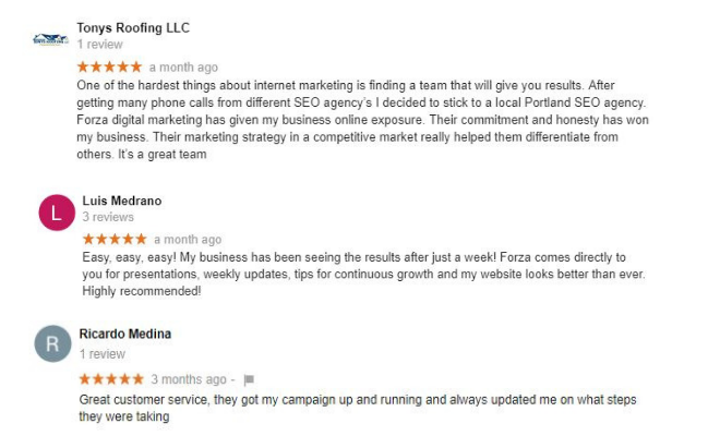 Testimonial portland seo company forza digital marketing